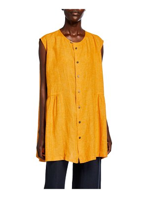eskandar Linen Button-Front Sleeveless Shirt