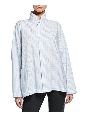 eskandar Long-Back Stand-Collar Paneled Shirt