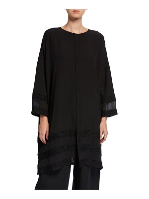 eskandar Long Sheer-Paneled Button-Front Shirt