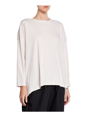 eskandar Long-Sleeve Basic High-Low T-Shirt