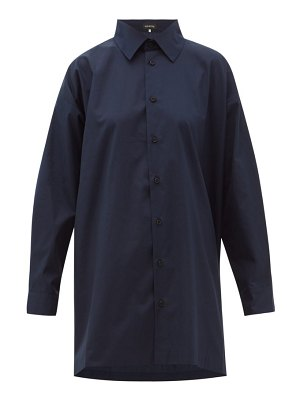 eskandar longline flared cotton-poplin shirt