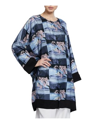 eskandar Mount Fuji Repeated-Print Bound Neck Shirt