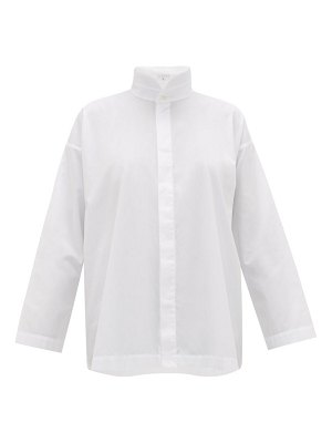 eskandar oversized a-line cotton-poplin shirt
