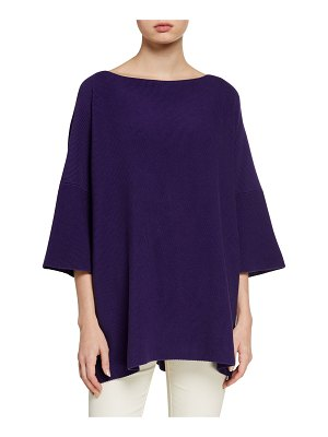 eskandar Pima Cotton 3/4-Sleeve Square Top