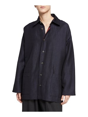 eskandar Slim A-Line Button-Front Shirt Jacket