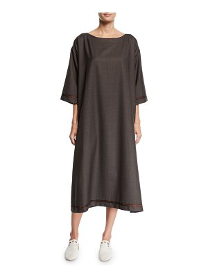 eskandar Slim A-Line Wool-Silk Midi Dress