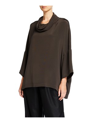 eskandar Sloped-Shoulder Cowl-Neck Top