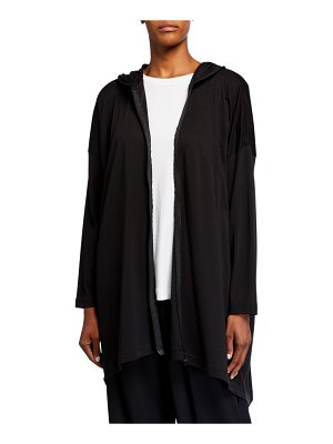 eskandar Smaller Front Longer Back Hooded Zipped Top