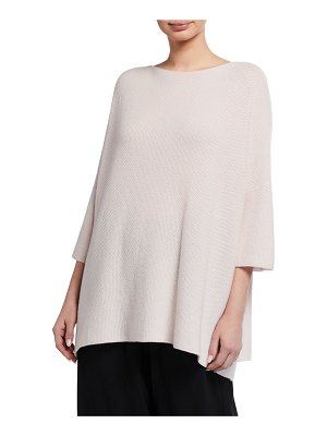 eskandar Square Bateau-Neck 3/4-Sleeve Cashmere Top