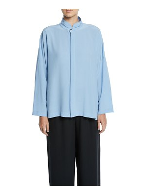 eskandar Stand-Collar Button-Front Silk Top