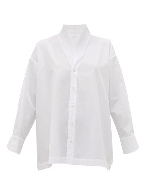 eskandar stand-collar cotton-poplin a-line shirt