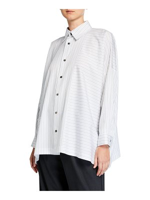 eskandar Stripe Paneled Poplin Wide Shirt