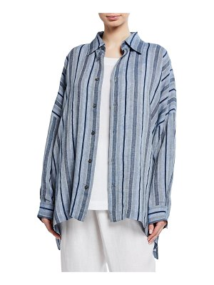 eskandar Striped Linen Button-Front Shirt
