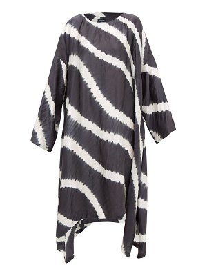 eskandar striped shibori-dyed crinkled-silk dress