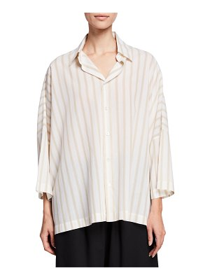 eskandar Striped Sloped-Shoulder Button-Front Shirt