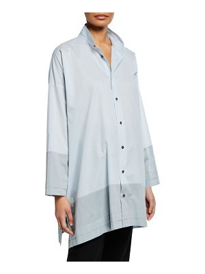 eskandar Wide A-Line Double Stand Collar Shirt