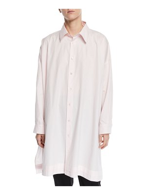 eskandar Wide A-Line Pleated-Edge Poplin Shirt