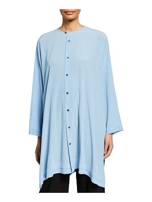 eskandar Wide Button-Front A-Line Shirt
