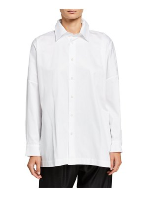eskandar Wide Poplin Button-Front Shirt
