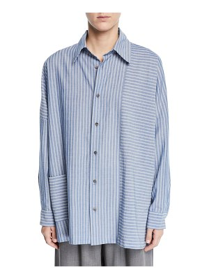 eskandar Wide-Striped Paneled Button-Front Shirt