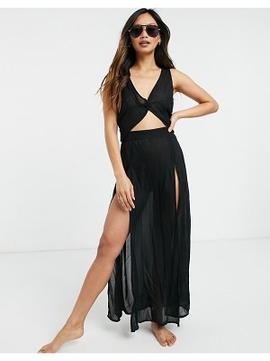 Esmée esmee exclusive maxi beach dress with cut out detail in black