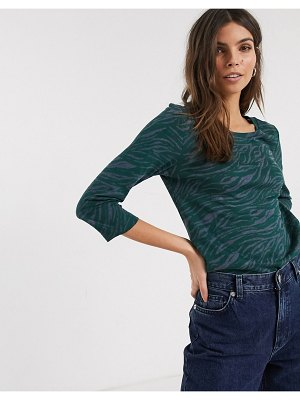 Esprit abstract zebra print top with sleeves in green-navy