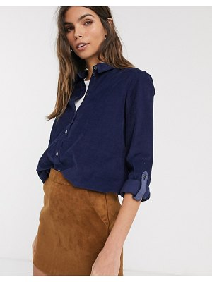 Esprit baby cord shirt with pocket detail in navy