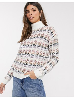 Esprit high neck knitted sweater in multi-white