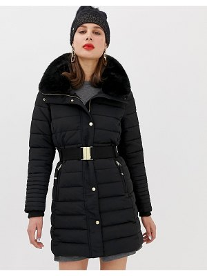 Esprit mid padded jacket with faux fur hood