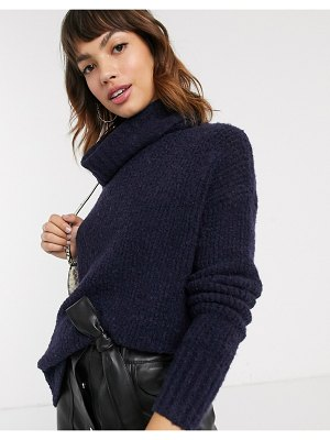 Esprit oversized high neck knitted sweater in navy