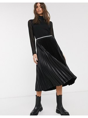 Esprit pleated skirt with glitter waist band in black