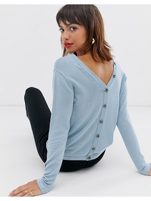 Esprit v back button detail knitted sweater in baby blue