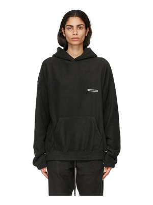 Essentials black polar fleece hoodie