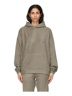 Essentials taupe polar fleece hoodie