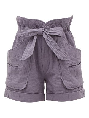 Etoile Isabel Marant belize high-rise belted cotton-blend shorts