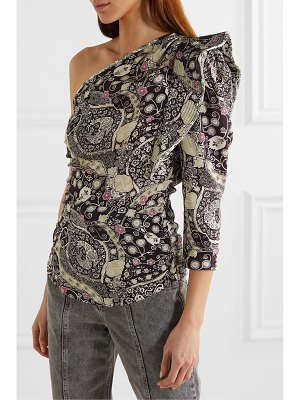 Etoile Isabel Marant carina ruffled printed one-sleeve poplin top