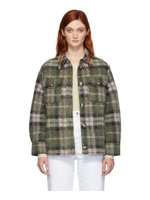 Etoile Isabel Marant green plaid gaston blanket shirt