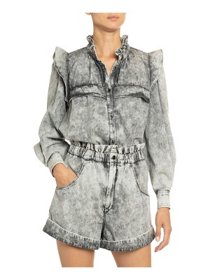 Etoile Isabel Marant Idety Yoked Ruffle Button-Down Top