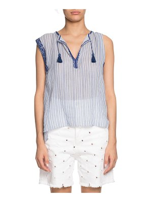 Etoile Isabel Marant Juditha Striped Embroidered Sleeveless Top