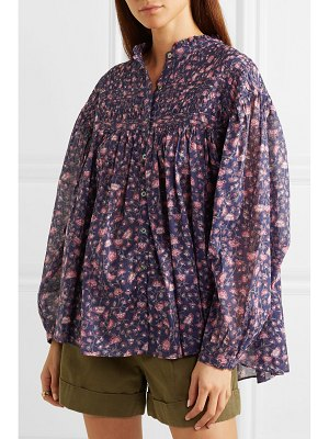 Etoile Isabel Marant laila pintucked floral-print cotton blouse