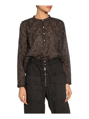 Etoile Isabel Marant Mexika Floral Band-Collar Button-Down Top