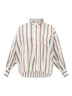 Etoile Isabel Marant olena striped ruffle-neck cotton-blend shirt