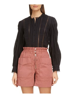 Etoile Isabel Marant peachy pleated lace inset blouse