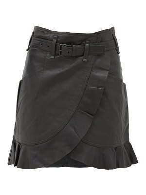 Etoile Isabel Marant qing ruffled wrap-front leather mini skirt