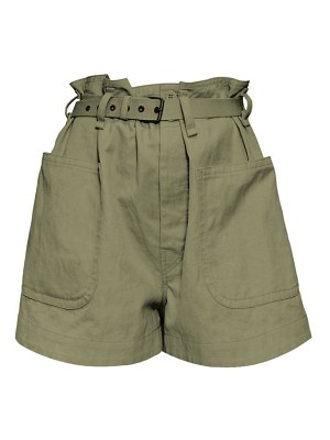 Etoile Isabel Marant rike high-rise belted cotton-blend canvas shorts