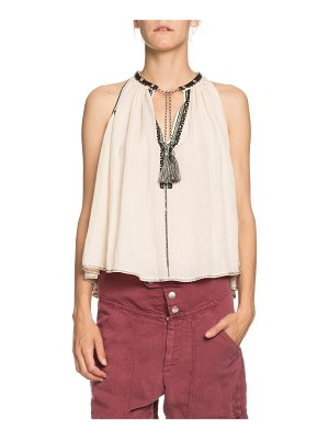 Etoile Isabel Marant Ryson Embroidered Tie-Front Sleeveless Top