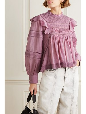 Etoile Isabel Marant viviana crocheted lace-trimmed ruffled cotton-voile blouse