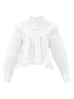 Etoile Isabel Marant viviana high-neck ruffled cotton blouse