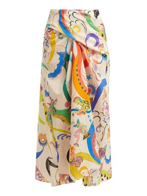 Etro abstract printed tie front cotton skirt
