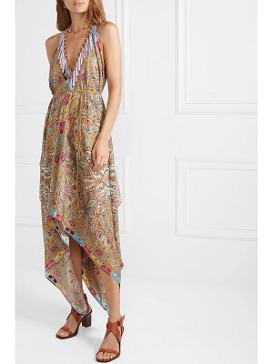 Etro asymmetric printed silk-twill midi dress